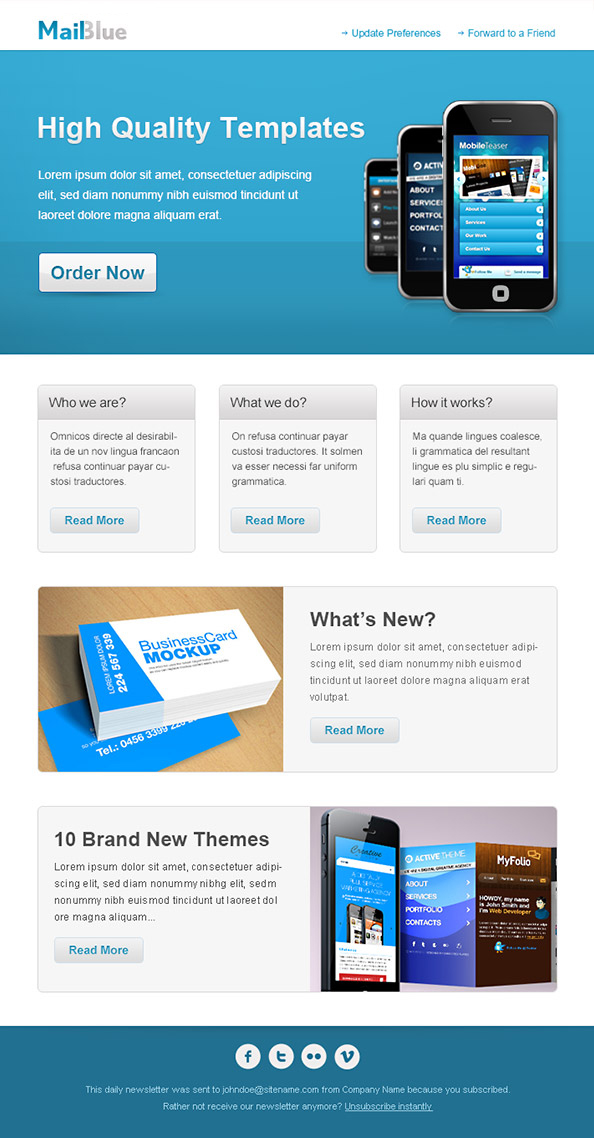 Business Email Template in Blue Colors Preveiw