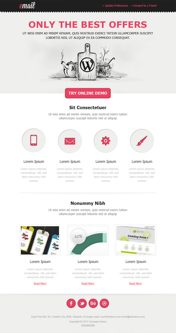 Clean html email template free mail templates for Sample email blast template