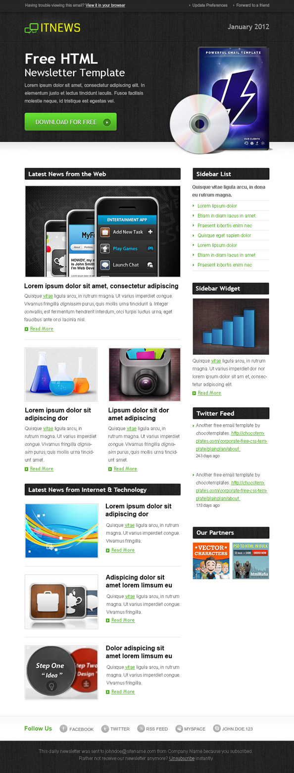 Free HTML Newsletter Template - IT News Preview