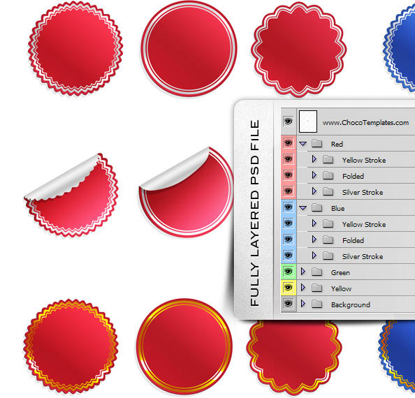 Fully Layered Free PSD Sticker Templates