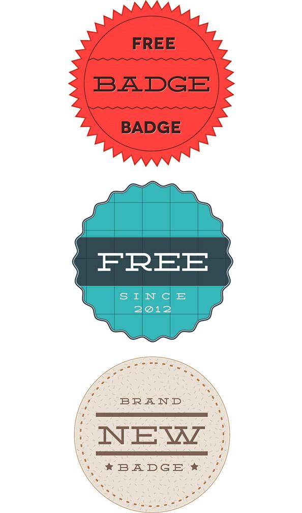 3 Retro Badge PSD Templates