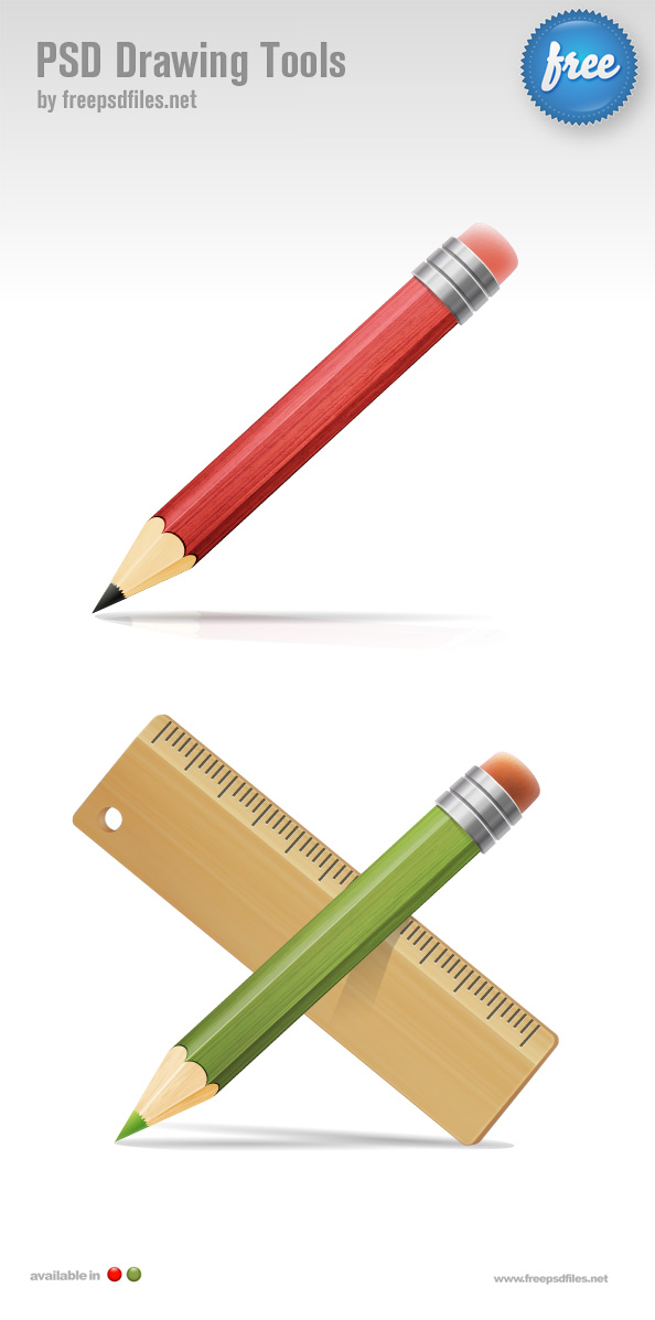 PSD Drawing Tools Pencil and Ruler Icons Preview Big