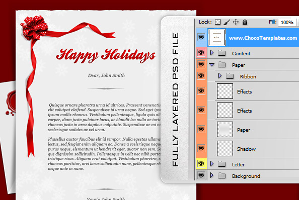 Fully Layered Holiday Card PSD Template