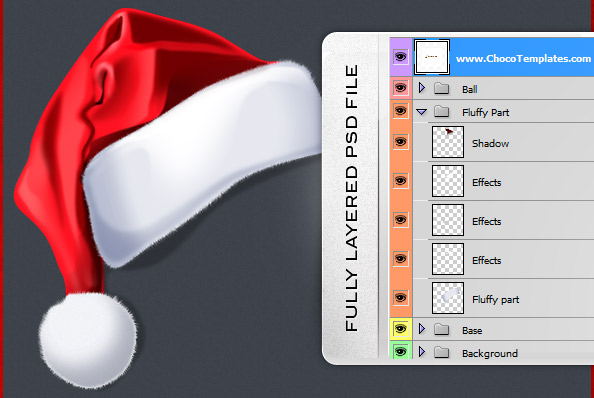Fully Layered Christmas Hat PSD File
