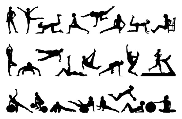 female fitness silhouettes set