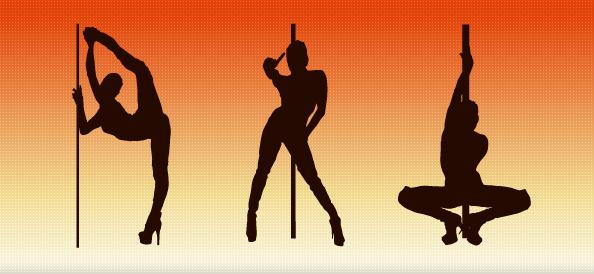 Pole Dancer Silhouettes Set 1