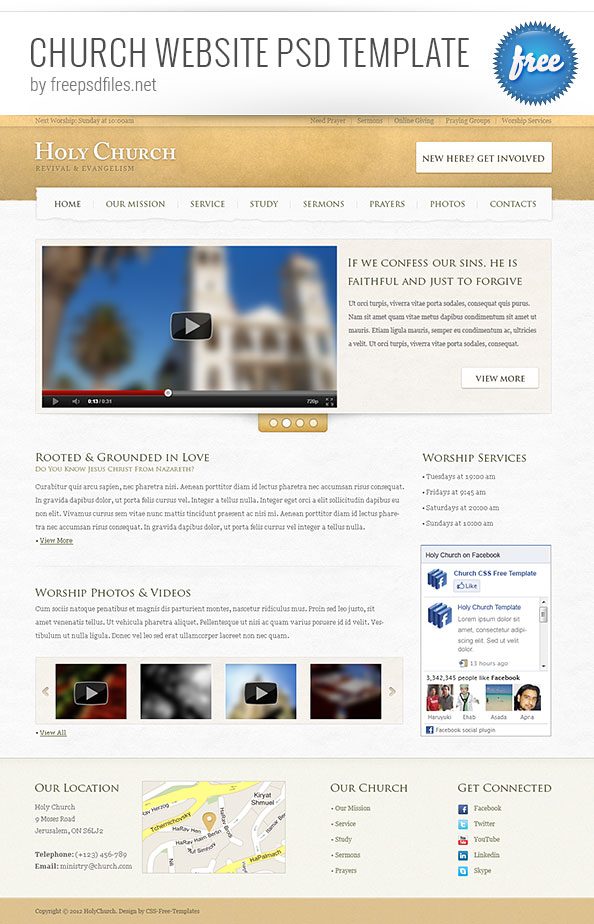 Church Website PSD Template Free PSD Files - Church website templates