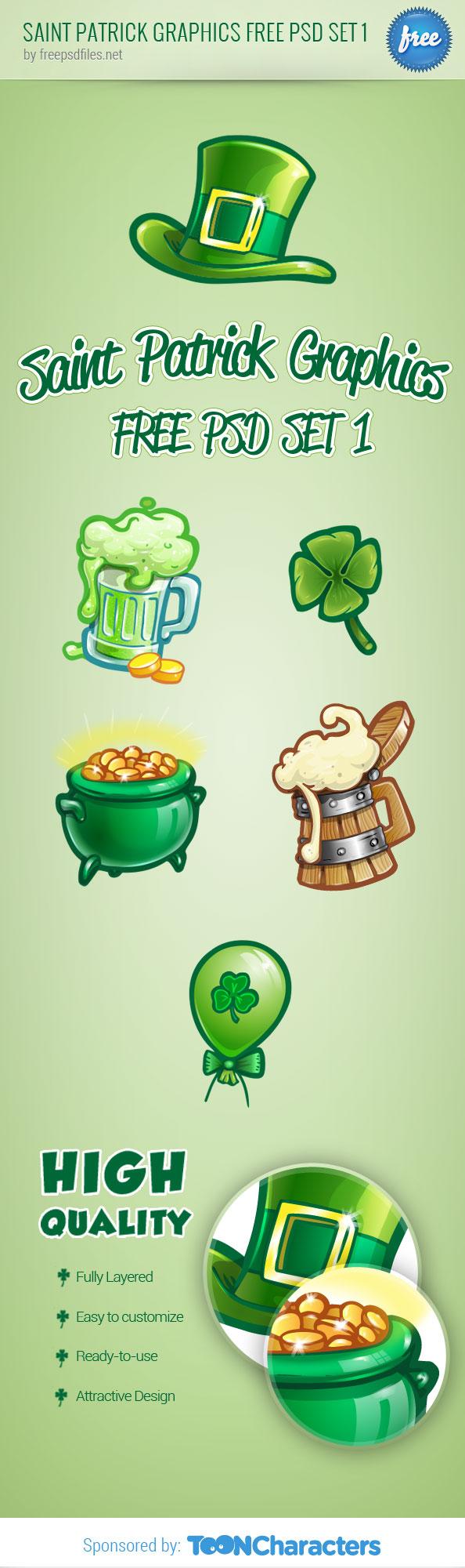 Saint Patrick Graphics Free PSD-Set 1