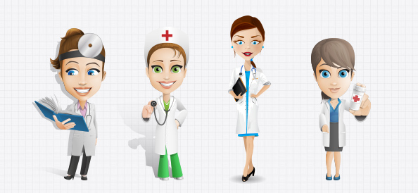 Female Doctor Vector Character Set