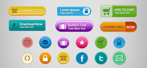 Free PSD Web Buttons Set 2
