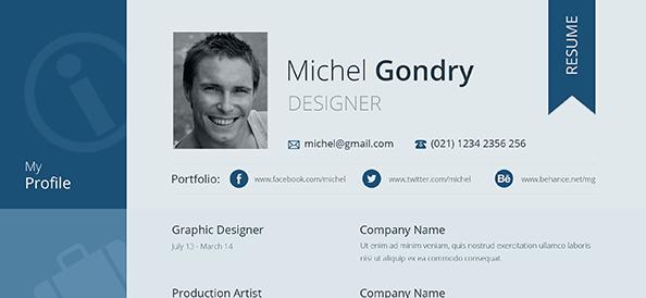 Free PSD Flat Design Resume
