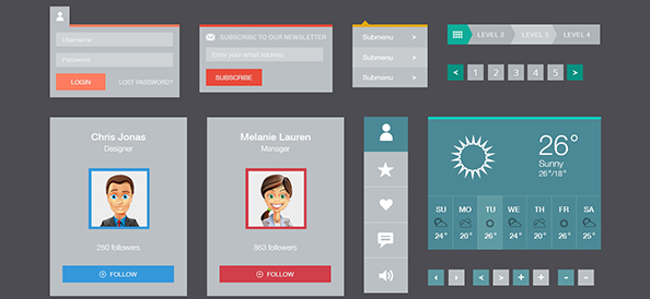 Free PSD Flat UI Elements