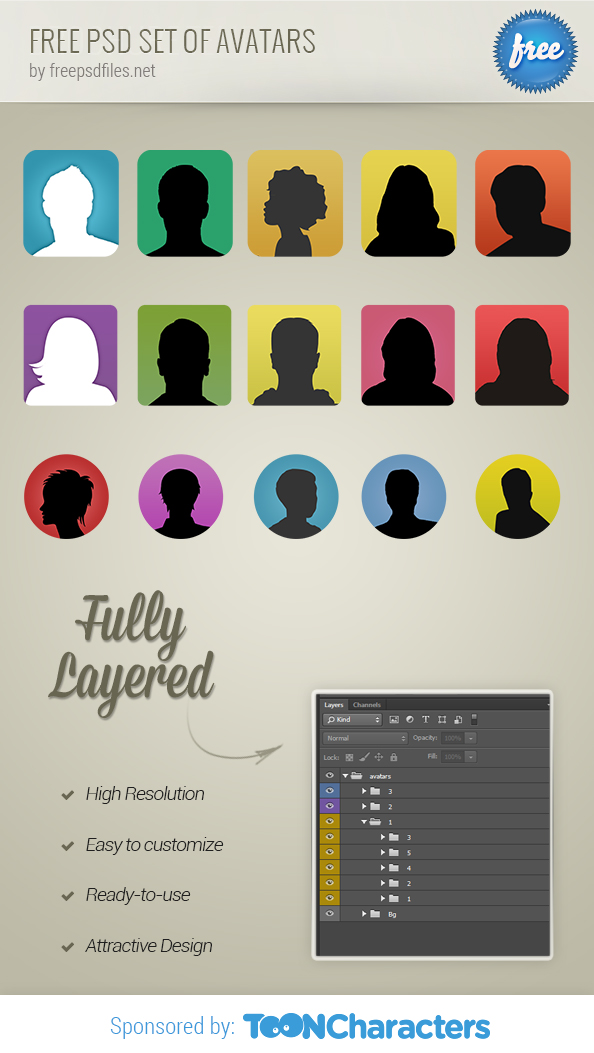 Free PSD Set Of Avatars