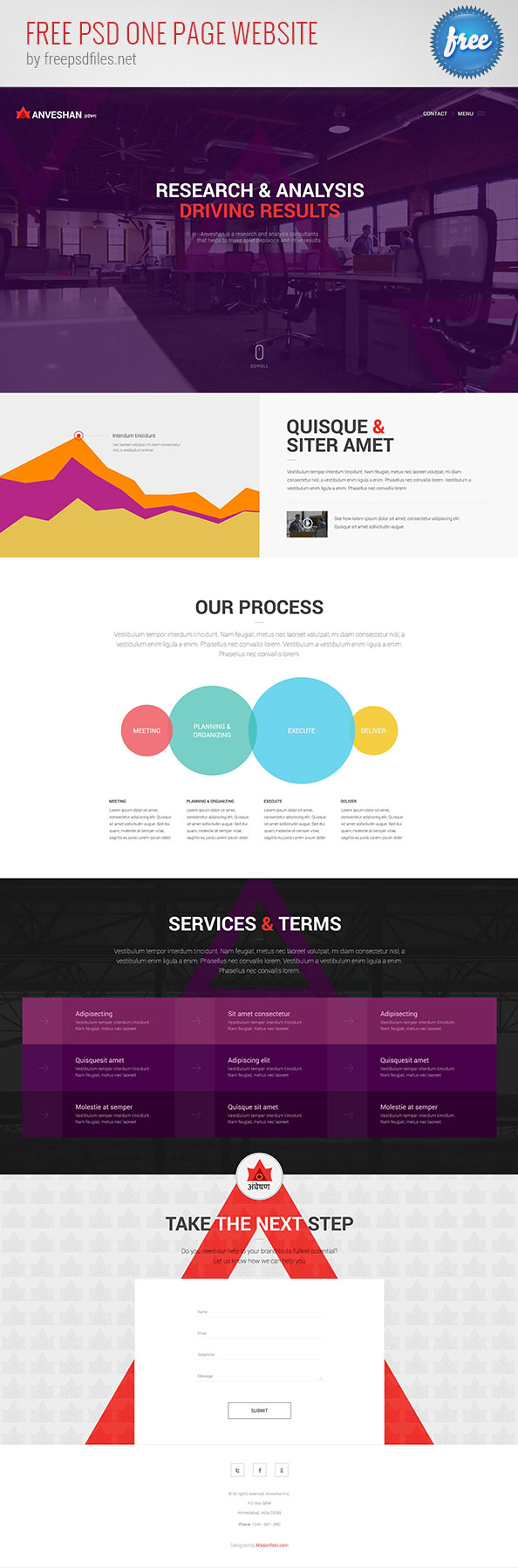 Free PSD One Page Website