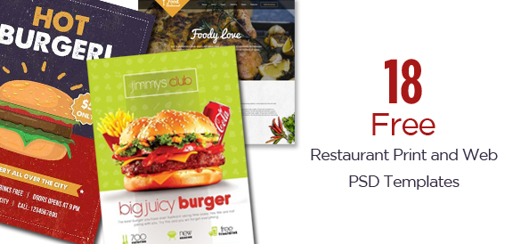 18 Restaurant Print & Web Free PSD Templates