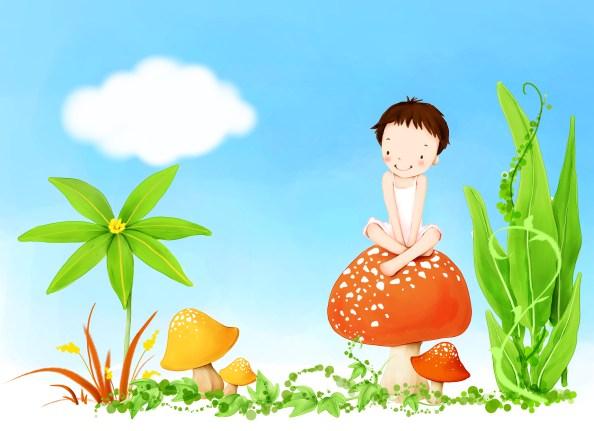 kid on mushroom