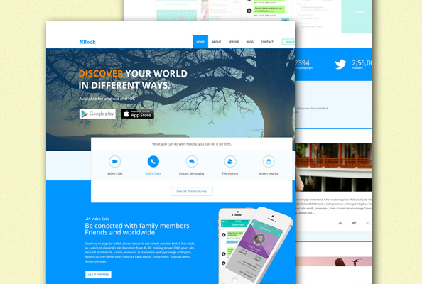 Free PSD App Landing Page Template