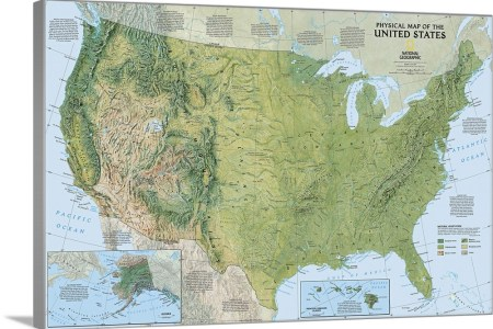 ngs topographical map of the united states of america wall
