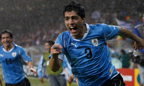 Uruguays hitman Luis Suarez is in bombastic form.
