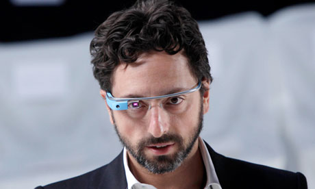 Google's Sergey Brin wearing Google Glass at New York fashion week.