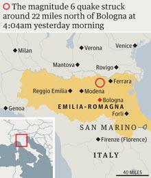 Emilia-Romagna earthquake graphic