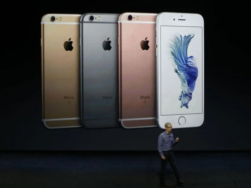 Apple CEO Tim Cook speaks about the new iPhone 6S and 6S Plus at an Apple launch event