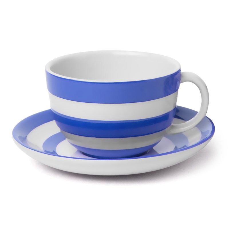 Engaging Cornishware Blue Cappuccino Cup Saucer Teacups Saucers Kensington Oversized Cappuccino Cups
