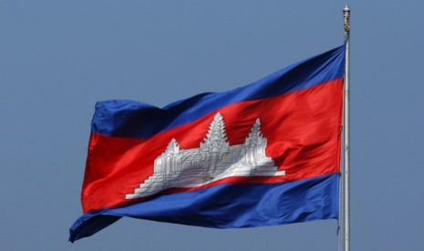bendera kamboja ilustrasi