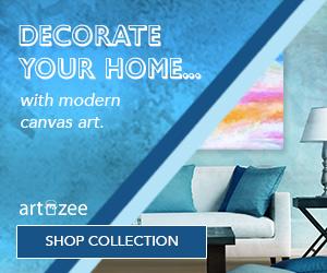 ArtzeeDesigns.com offers modern canvas art with custom options available.