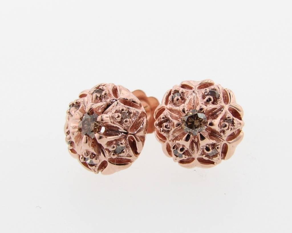 Divine Vintage Rose G Cognac Diamond Earring Bisnonna Rose G Cognac Diamonds Wexford Jewelers Rose G Earrings Cheap Rose G Earrings wedding rings Rose Gold Earrings