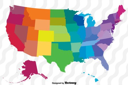 colorful vector map of the united states download free
