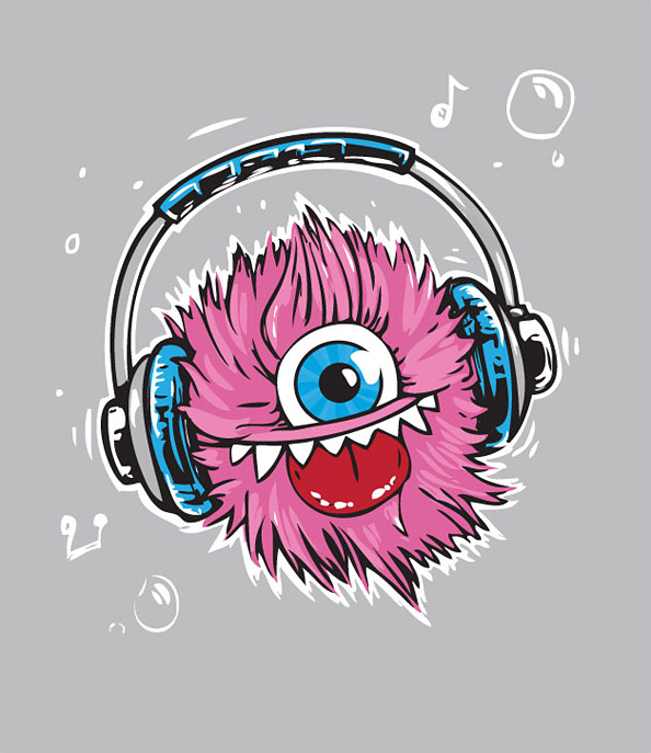 Cute, Fresh & Funny Monster Character Illustration - Music Lover Preview Big