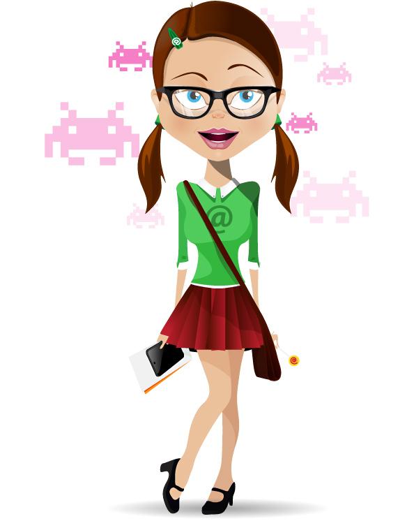 2 Female Cartoon Characters : Geek girl vector character characters