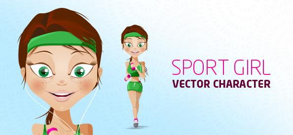 Sport Girl Vector Character