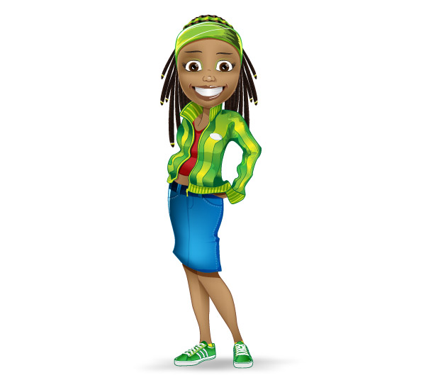 Afro-American Girl Vector Character Preview