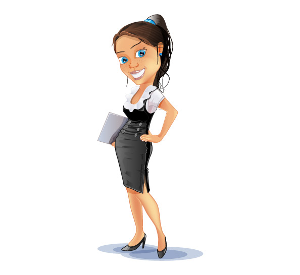 Successful Business Woman Vector Character Preview