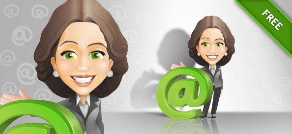 Business Lady Vector Character