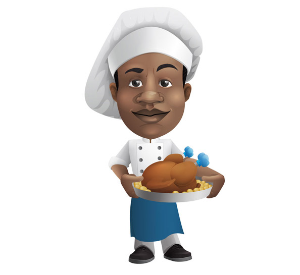 Chef Vector Character Holding a Tray Preview