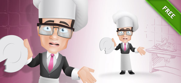 Cook Vector Character Holding a Broken Plate