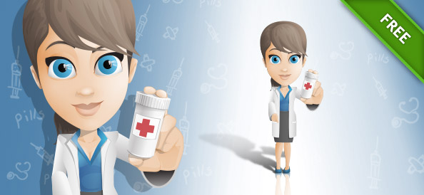 Female Doctor Vector Character Holding Pills