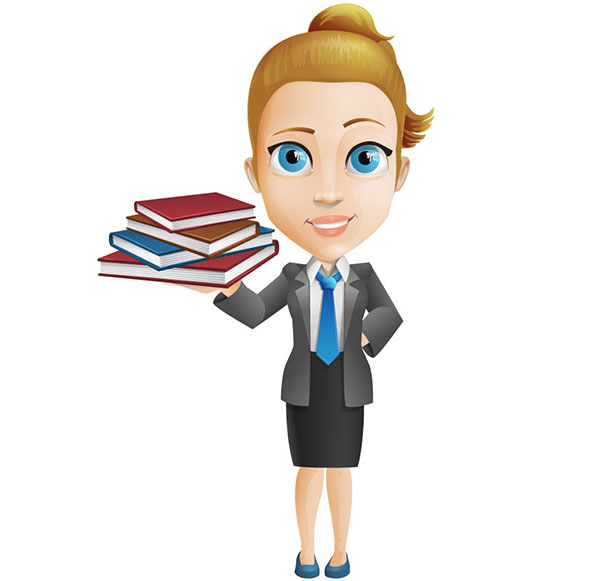 Vector Woman Character Holding Book