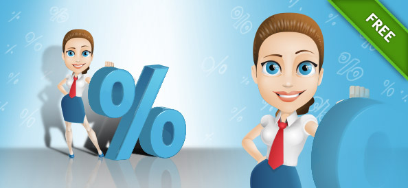 Vector Woman Character with Percent Symbol