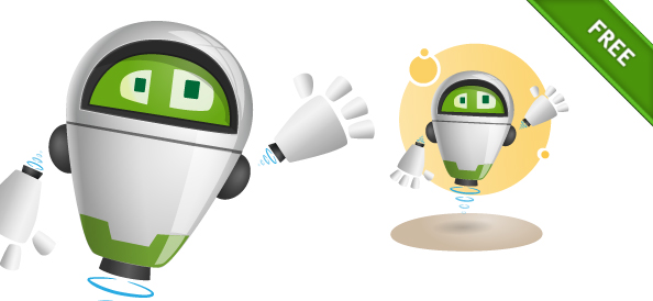 Flying Robot Vector Character