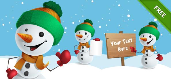 Free Snowman Vector Character Set