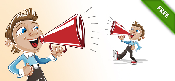 Free Boy Vector Character with Loudspeaker