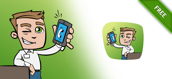 Free Vector Guy with Phone