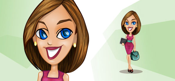 Vector Businesswoman with Tablet