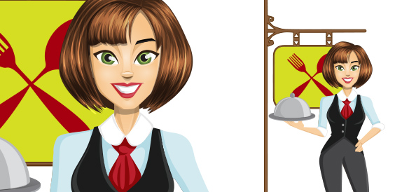 Vector Waitress Character