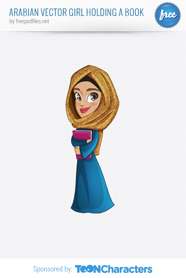 Arabian Vector Girl Holding a Book