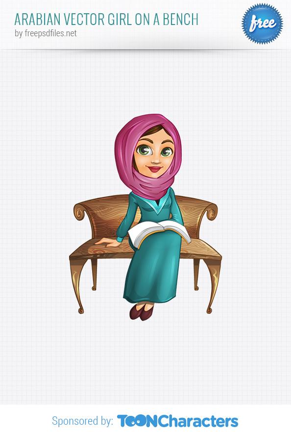 Arabian Vector Girl on a Bench